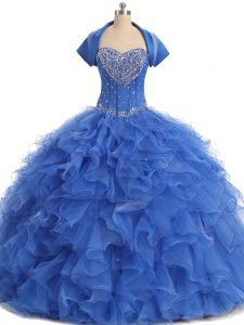 Elegant Blue Strapless Neckline Beading and Ruffles Quinceanera Dress with Jacket Sleeveless Lace Up