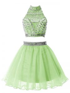 Delicate Sleeveless Organza Knee Length Zipper Vestidos de Damas in Yellow Green with Beading