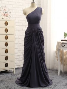 Sweet Grey One Shoulder Neckline Pick Ups Quinceanera Court of Honor Dress Sleeveless Zipper