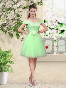 Suitable Tulle V-neck Cap Sleeves Lace Up Lace and Belt Quinceanera Dama Dress in Apple Green