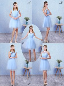 Admirable Blue Lace Up Scoop Ruching Dama Dress for Quinceanera Tulle Sleeveless
