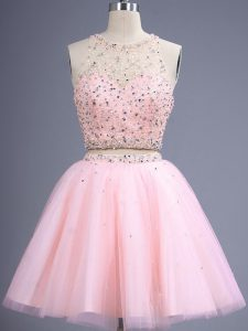 Romantic Baby Pink Two Pieces Beading Quinceanera Court of Honor Dress Lace Up Tulle Sleeveless Knee Length