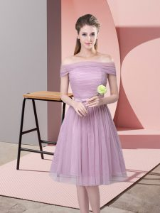 Lavender Side Zipper Off The Shoulder Ruching and Belt Quinceanera Court of Honor Dress Tulle Sleeveless