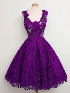 Lace Straps Sleeveless Lace Up Lace Quinceanera Court of Honor Dress in Purple