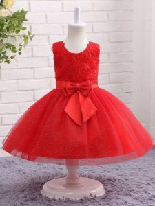 Nice Sleeveless Tulle Mini Length Zipper Evening Gowns in Red with Bowknot