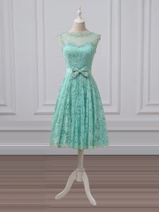 Exquisite Apple Green Lace Up Scoop Lace and Bowknot Damas Dress Lace Sleeveless