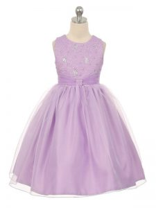 Scoop Sleeveless Lace Up Little Girls Pageant Gowns Lavender Tulle