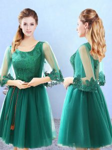 Sophisticated Green A-line Scoop 3 4 Length Sleeve Tulle Knee Length Lace Up Lace and Appliques Quinceanera Court of Honor Dress