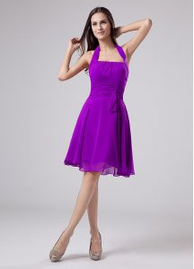 Sleeveless Knee Length Ruching Zipper Mother of Bride Dresses with Eggplant Purple