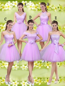 Knee Length Lace Up Damas Dress Lilac for Prom and Party with Lace and Belt