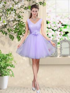 Suitable V-neck Sleeveless Lace Up Dama Dress for Quinceanera Lilac Tulle
