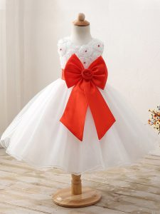 Dazzling Ball Gowns Pageant Dress for Girls White Scoop Organza Sleeveless Mini Length Zipper