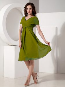 Olive Green V-neck Zipper Ruching Mother of the Bride Dress Short Sleeves