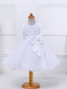 Fancy Scoop Sleeveless Pageant Gowns For Girls Mini Length Bowknot White Organza