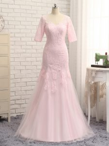 Baby Pink Zipper V-neck Lace and Appliques Mother of Groom Dress Tulle Half Sleeves