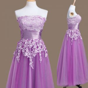 Purple Strapless Neckline Appliques Dama Dress Sleeveless Lace Up