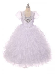 Low Price Ball Gowns Little Girl Pageant Gowns White Straps Organza Sleeveless Floor Length Lace Up
