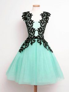 Flare Knee Length A-line Sleeveless Turquoise Quinceanera Court of Honor Dress Lace Up