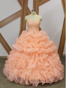 Deluxe Peach Sweet 16 Dresses Prom and Party and Military Ball and Sweet 16 and Quinceanera with Beading and Ruffles and Pick Ups Sweetheart Sleeveless Sweep Train Lace Up