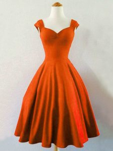 Noble Rust Red Sleeveless Ruching Knee Length Dama Dress for Quinceanera