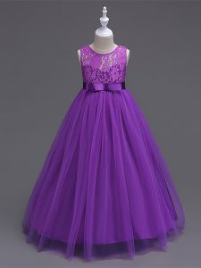 Perfect Purple Scoop Zipper Lace Girls Pageant Dresses Sleeveless
