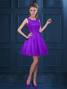 Ideal A-line Vestidos de Damas Purple Scoop Tulle Sleeveless Knee Length Zipper