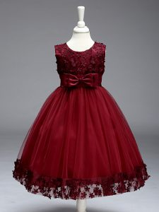 Pretty Tulle Scoop Sleeveless Zipper Lace and Bowknot Girls Pageant Dresses in Burgundy