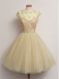 Tulle Scoop Cap Sleeves Lace Up Lace Quinceanera Court of Honor Dress in Champagne