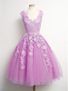 Lilac V-neck Neckline Appliques Court Dresses for Sweet 16 Sleeveless Lace Up