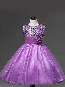 Modern Lilac Zipper Scoop Sequins and Hand Made Flower Pageant Dresses Tulle Sleeveless