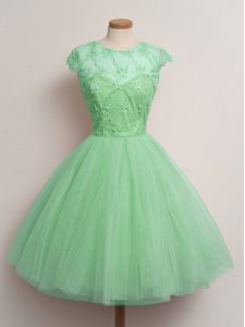 Beautiful Turquoise Ball Gowns Tulle Scoop Cap Sleeves Lace Knee Length Lace Up Dama Dress for Quinceanera