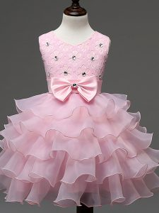 Stylish Baby Pink Organza Zipper Little Girls Pageant Dress Sleeveless Knee Length Lace and Ruffled Layers and Bowknot