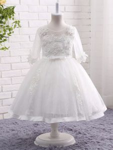 White Short Sleeves Tea Length Lace and Appliques Zipper Pageant Dress for Girls