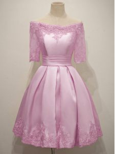 Traditional Lilac A-line Taffeta Off The Shoulder Half Sleeves Lace Knee Length Lace Up Quinceanera Court of Honor Dress