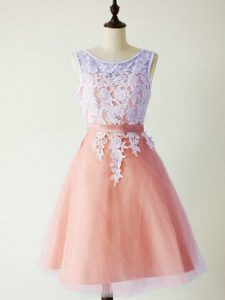 Peach Scoop Neckline Lace Quinceanera Court Dresses Sleeveless Lace Up