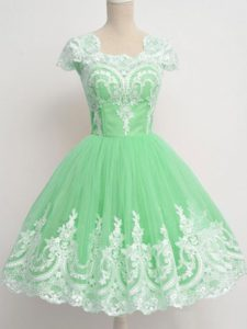 Low Price Apple Green Square Neckline Lace Dama Dress Cap Sleeves Zipper