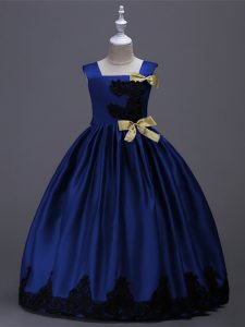 Sleeveless Taffeta Floor Length Zipper Pageant Gowns For Girls in Royal Blue with Appliques and Bowknot