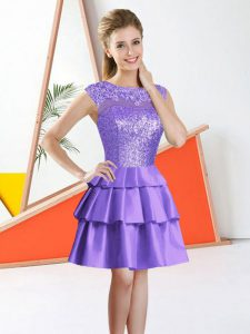 Sleeveless Knee Length Beading and Lace Backless Quinceanera Court Dresses with Lavender