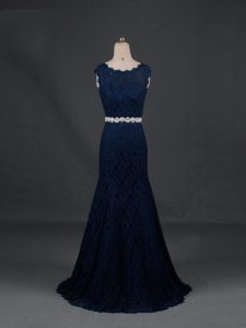 Sleeveless Floor Length Beading Backless Mother Dresses with Navy Blue