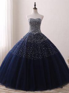 Cute Sleeveless Lace Up Floor Length Beading Sweet 16 Dress