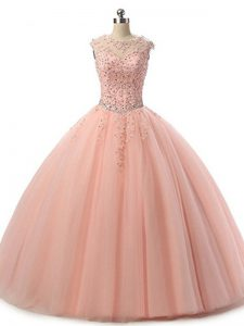 Superior Peach Sweet 16 Quinceanera Dress Military Ball and Sweet 16 and Quinceanera with Beading and Lace Scoop Sleeveless Lace Up