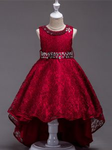 Custom Design Wine Red Lace Lace Up Little Girls Pageant Dress Wholesale Sleeveless High Low Beading