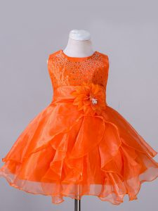 Adorable Orange Red Little Girls Pageant Gowns Wedding Party with Beading and Hand Made Flower Scoop Sleeveless Zipper