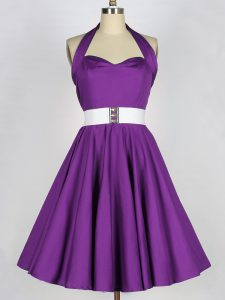 Affordable Eggplant Purple Halter Top Lace Up Belt Vestidos de Damas Sleeveless