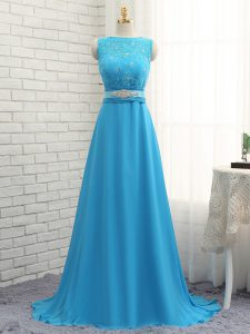 Empire Sleeveless Baby Blue Court Dresses for Sweet 16 Brush Train Zipper