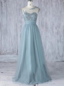 Artistic Grey Zipper Scoop Appliques Dama Dress for Quinceanera Tulle Cap Sleeves