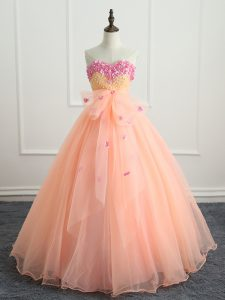 Sleeveless Floor Length Beading and Appliques and Bowknot Lace Up Quinceanera Gown with Peach