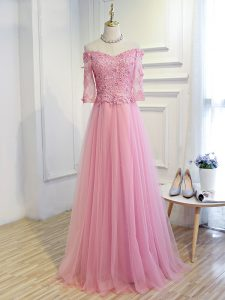 Pink 3 4 Length Sleeve Tulle Lace Up Mother of the Bride Dress for Prom and Party and Military Ball and Sweet 16
