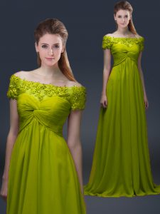 Floor Length Olive Green Mother Dresses Satin Short Sleeves Appliques