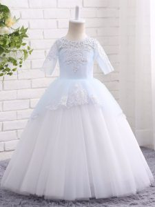 Tulle Half Sleeves Floor Length Little Girls Pageant Dress and Appliques